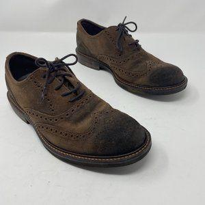 Ecco Suede Wingtip Tie Oxford Shoes